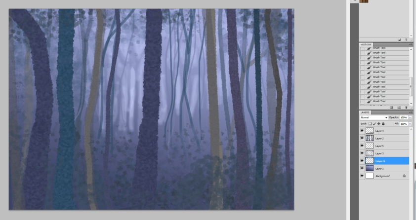 trees painting- layers in photoshop